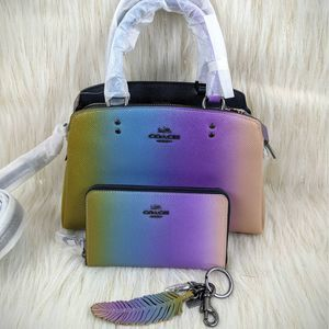 SET Coach Ombre Mini Lillie Carryall Wallet Charm